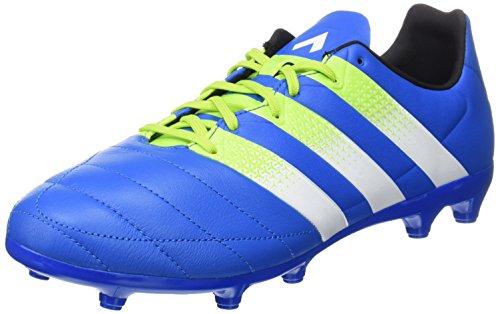 adidas Ace 16.3 Fg/Ag Leather, Scarpe da Calcio Uomo Blu (Shock Blue/Semi Solar Slime/Ftwr White)