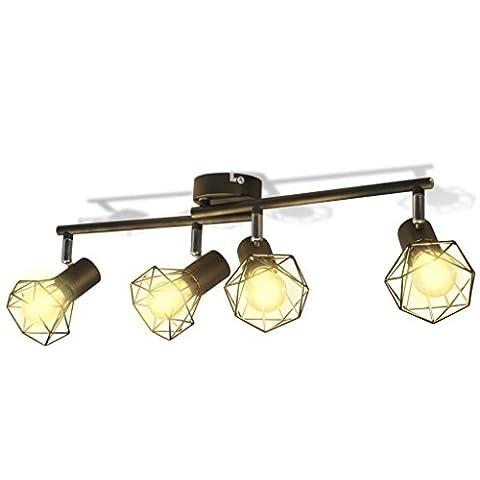 vidaXL 4x LED Fluter Strahler Warmweiß Deckenfluter Deckenlampe Industrie Design