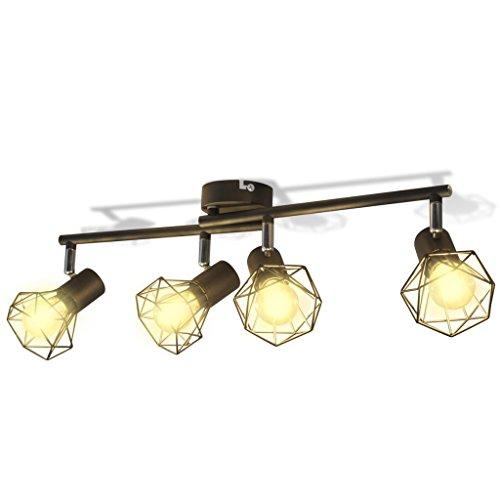 vidaXL Deckenleuchte mit 4 LED Glühlampen Warmweiß Deckenlampe Wohnzimmerlampe