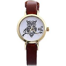 SSITG Women Retor Owl Clock-Leather Analog Quartz Wrist Watch Gift Wedding Gift