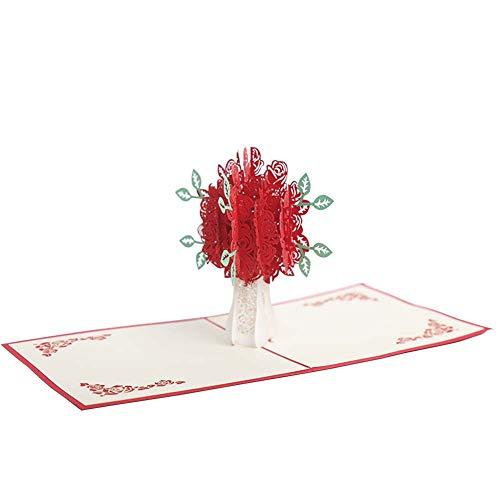 Schneiden Hochzeitseinladungen, Rose Party Einladung, Leere Seite Laser Schneiden Muster Handgefertigt Geeignet für Braut Hochzeit,Red,30PCS ()
