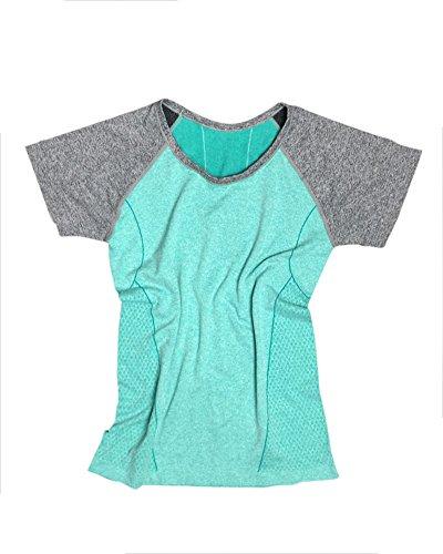 Donna Leisure Maglietta a maniche corte da per Yoga sport rapida essiccazione Verde