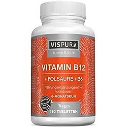 Vitamin B12 hochdosiert 1000 µg mit VITAL-Formel Folsäure + Vitamin B6 Methylcobalamin 180 Tabletten VEGAN deutsche Premium-Qualität und 30 Tage kostenlose Rücknahme