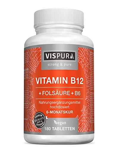 Folsäure B6 Vitamine (Vitamin B12 hochdosiert 1000 µg mit VITAL-Formel Folsäure + Vitamin B6 Methylcobalamin 180 Tabletten VEGAN deutsche Premium-Qualität und 30 Tage kostenlose Rücknahme)