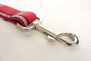 Rantow Ensemble de collier en laisse de chien animal domestique en nylon, XS Collier + S à la chasse pour dressage de chien, motif de plaid rouge écossais classique rembourré