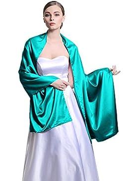 Chal Estola Mujer Seda Satén para Fiesta Novia Boda 25 Colors
