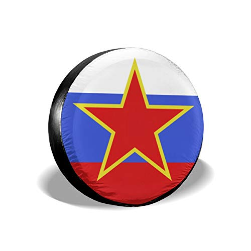 The Red Star Glitters In The Russian Flag Tire Cover Car Accession Travel Decor Woven Glitter