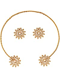 Touchstone Indian Bollywood Floral Theme Faux Pearls Creative Fusion Delicate Designer Jewelry Necklace Set In...