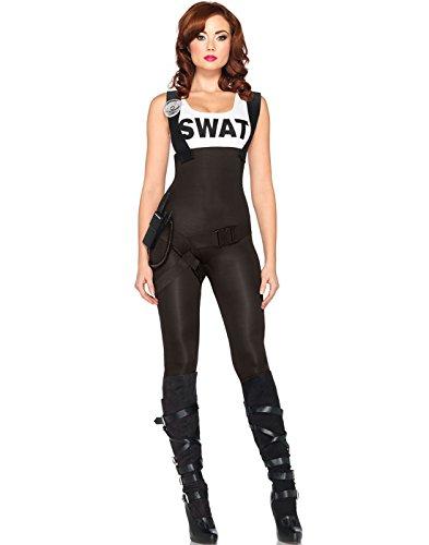 Leg Avenue 85168 - 3Tl. Kostüm Set Swat Hot Babe, Größe XL (EUR 44-46), schwarz, Damen Karneval Kostüm (Swat Jumpsuit)