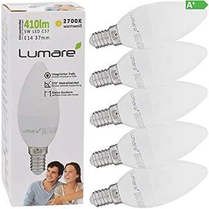 Lumare E14 LED Kerze 5W Ersetzt 40W 410 Lumen 5er Set Watt Lampe Glühbirne 2700 Kelvin C35 Leuchtmittel warmweiss