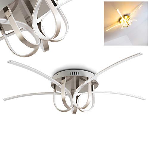 LED Deckenleuchte Casale, Deckenlampe in Chrom, 4-flammig, mit 4 gebogenen Lichtleisten, 50 Watt, 4000 Lumen, Lichtfarbe 3000 Kelvin (warmweiß) -
