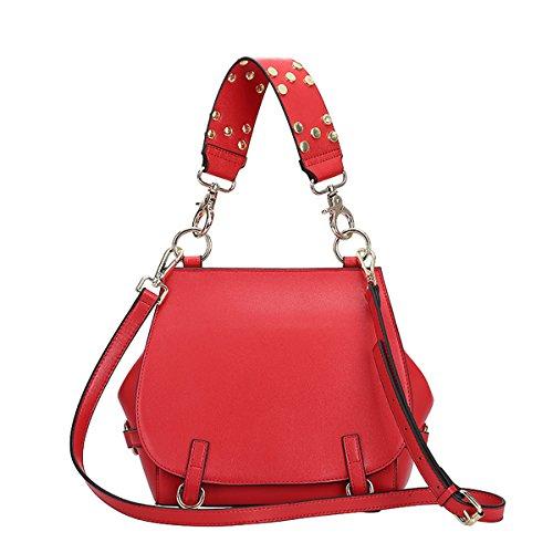Valin Q0815 Damen Leder Handtaschen Satchel Tote Taschen Schultertaschen Rot