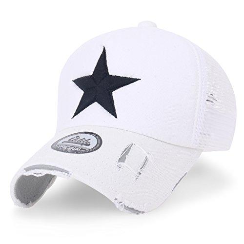 ililily Stern Stickerei schwarz Weiss Trucker Cap Hut Baumwolle Baseball Cap, White Mesh