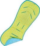 PRIEBES MEIKE Sitzauflage | Universale Sitzeinlage für Kinderwagen und Buggy | Schonbezug 100 % Baumwolle | waschbar & atmungsaktiv | einfache Befestigung | Wendeeinlage für Sommer und Winter, Design:dots lime