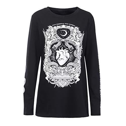 Cat Kostüm Rock - Xiangdanful Punk T-Shirt Kapuzenpullover Hoodie Damen Oberteile Bluse Rundhals Langarmshirts Sexy Gothic Kostüm Gedruckt Minikleider Dress Sweatshirt Rock Hippie Tanktop Streetwear (S, Schwarz)