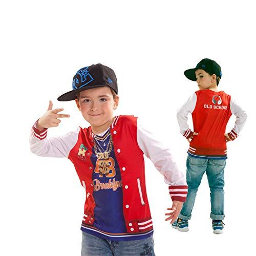viving Kostüme viving costumes231098Rapper Jungen, Long Sleeve T-Shirt (8-10Jahre, One Size) (Jungen Rapper Kostüm)