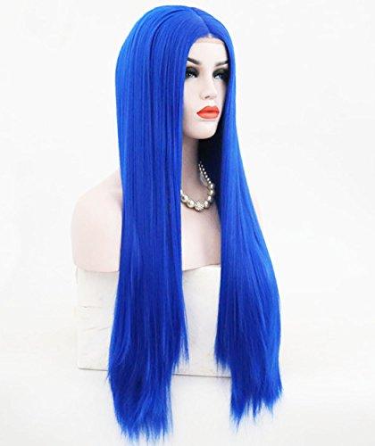ATAYOU® 26 Zoll Lange Gerade Blau Synthetische Lace Front Perücken Hitzebeständige Cosplay Perücken für Frauen mit 1 Perücke Kappe ()