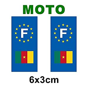 Autocollant plaque immatriculation drapeau cameroun Moto