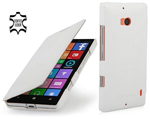 StilGut Book Type Case, Tasche Hülle aus Leder für Nokia Lumia 930, weiß