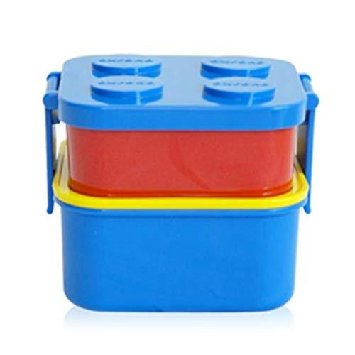 Lunchbox mit 2 Ebenen, stapelbar, 1 Gabel-Set, Bento Box Salatbox mit Oxford-Block-Design für Kinder, Familie, Picknick, Reisen Blue Lid 2 Layer+Fork