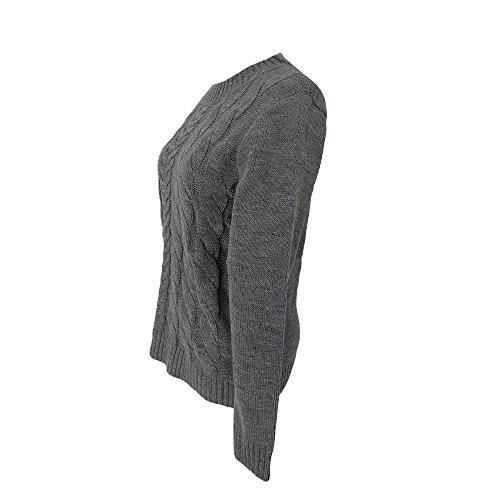 FeiBeauty Frauen Hanf Muster europäischen und Amerikanischen Mode Stricken Rundhals Pullover Pullover Pullover Mantel