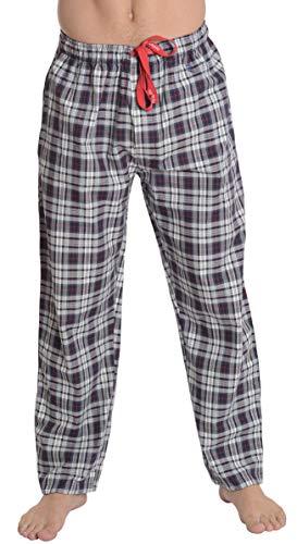 El Búho Nocturno - Herren Lange Karierte Pyjamahose | Schlafanzughose, Klassische Nachtwäsche für Herren - Größe XXL - Viyella, 100% Baumwolle - Grau und Marineblau mit rote Streifen - Streifen-satin Baumwolle Pyjama
