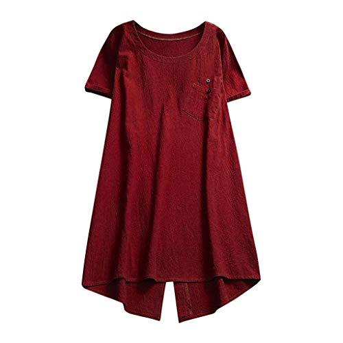 Darringls Remera Mujer,Camisetas Talla Grande Hoodie Blusa Algodón de Lino Remera Cosiendo Manga Larga (Vino, XXL)
