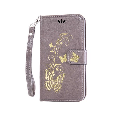 Fatcatparadise (TM) Custodia con design a flip per iPhone 5, 5S e SE, con protezione per schermo in vetro temperato, antigraffio, con retro morbido in silicone, stampa elegante di farfalla con fiori,  grigio