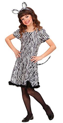 Karneval-Klamotten Zebra Kostüm Mädchen Zebra Kleid Kinder mit Zebra-Ohren Schwanz Tier-Kostüm Karneval Mädchen-Kostüm Größe ()