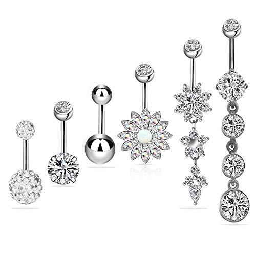 6 PCS 14G 316L en acier chirurgical CZ nombril anneaux avec Dangle Cubique Zircone Courbe Corps Piercing Bijoux Barbells pour Femmes Filles (Argent)
