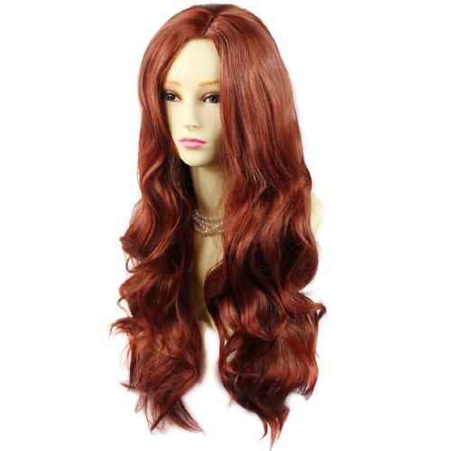 Perücke Sexy Lange (Fantastische Sexy Lange Abgestufte gewellt Perücke Kupfer Rot Damen Perücke mit Nachahmung Kopfhaut)
