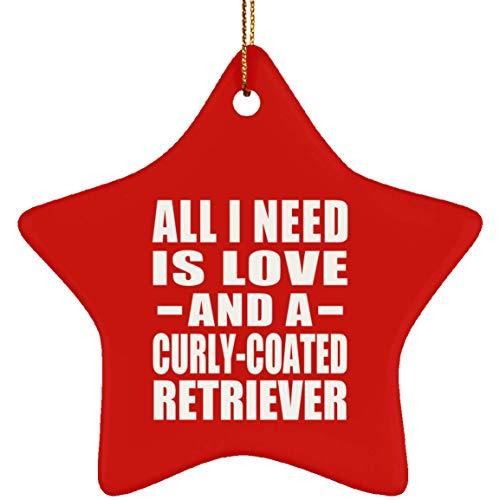 Designsify All I Need is Love and A Curly-Coated Retriever - Star Ornament Red Stern Weihnachtsbaumschmuck aus Keramik Weihnachten - Geschenk zum Geburtstag Jahrestag -