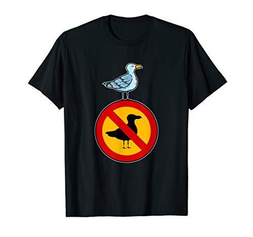 Freiheit über Verbote - Möwe auf einem Verbotsschild T-Shirt