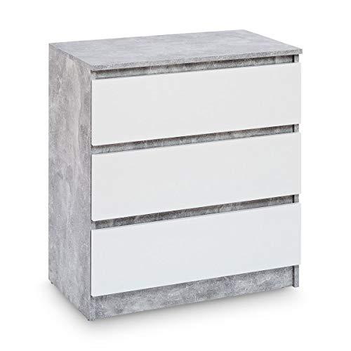 Galdem Kommode mit 3 Schubladen Sideboard Mehrzweckschrank Anrichte Diele Flur Esszimmer Wohnzimmer Schlafzimmer Cement Beton Weiß