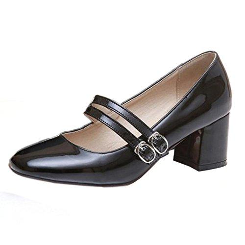 TAOFFEN Femmes Chaussures Mode Bloc Talons Moyen Mary Jane Escarpins De Boucle Noir