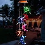 MCLseller Solarbetriebenes LED-Windspiel, Farbwechselspiralenspinner-Windspiel-Lampe, die wasserdichtes dekoratives Windbell-Licht im Freien für Gartenterrasse, Plattform, Yard hängt