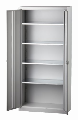 Preisvergleich Produktbild BISLEY Flügeltürenschrank LIGHT, 4 Böden, Lichtgrau - Schrank Stahl Stahlblech Lagerschrank Aktenschrank Büroschrank - Maße: 40 x 91,4 x 195 cm - kompl. montiert - E782A04G445