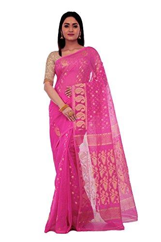 Avik Creations Women's Handloom Resham Silk Cotton Muslin Dhakai jamdani Saree Pink...