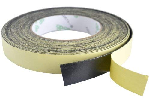 FiveSeasonStuff All Season industriel force Noir Simple Face Ruban Auto-adhésif en Mousse, bande / ruban adhésif imperméable, bande d'étanchéité (20mm x 1mm x 10m)