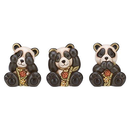 THUN Tris Panda Non Vedo, Non Sento, Non Parlo Piccolo-Ceramica-h 10 cm-Linea I Classici