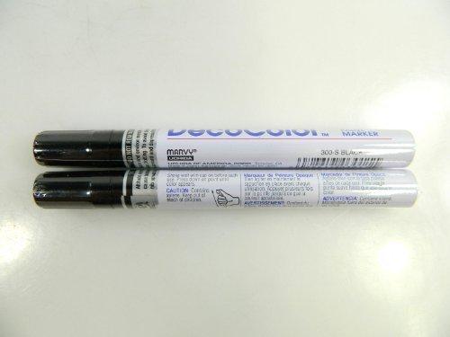 Two (2) Deco Color Marvy Uchida Broad Line Opaque Paint Marker Black by Decocolor (Marker Paint Decocolor)