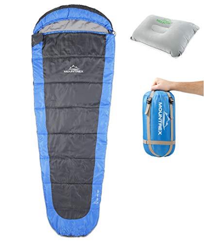 MOUNTREX® Schlafsack - Leicht & Kompakt (850g) | Outdoor Sommerschlafsack - 205x75cm | Kleines Packmaß | GRATIS Reisekissen