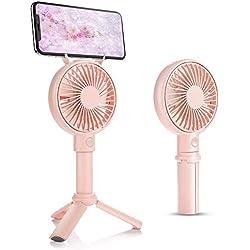 BENKS Mini Ventilateur électrique Portable USB Ventilateur Rechargeable LG 3350mAh Batterie 3 Vitesse Réglable Mini Ventilo à Main Portatif Silencieux pour Ventilateur Office ou Voyage [Rosa]