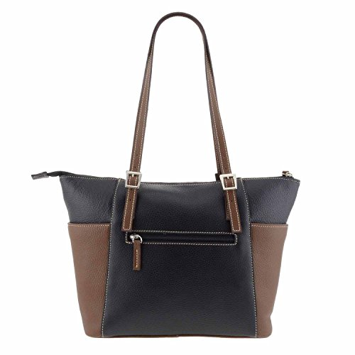 Stile borsa di pelle cestino NEGRO/MARRON