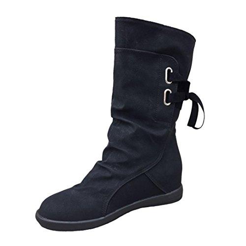 LSAltd Damen Winter Elegant Low Keil Schnalle Schnüren Schuhe, Frauen Knöchel Trim Flache Stiefel Schuhe (43, Schwarz) (Schnalle Schuh Boot Trim)