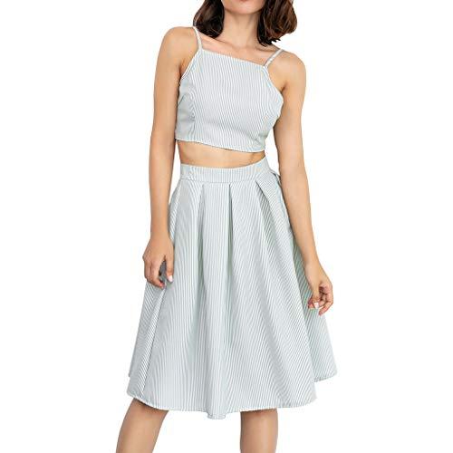 (B-commerce Frauen Tops Rock 2PCS Set - Gestreiftes Druck-T-Shirt Ärmellose Oberteile Bluse Kleid Bodycon Rock Set Lässige Club Wear Party Crop Top Wickelkleid)