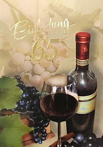 Einladungskarten 65. Geburtstag Frau Mann mit Innentext Motiv Rotwein 10 Klappkarten DIN A6 im Hochformat mit weißen Umschlägen im Set Geburtstagskarten Einladung 65 Geburtstag Mann Frau K228