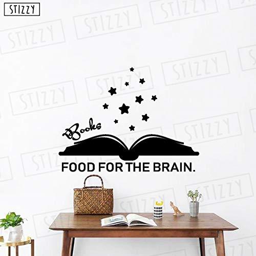 yiyiyaya Zitate Bücher Essen Für Das Gehirn Vinyl Wandaufkleber Abnehmbare Stern Muster Innen Kinderzimmer Wohnkultur Moderne 56 * 42 cm