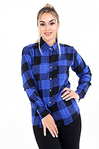 ROCKBERRY® Classics Women's Checked Flannel Long Sleeve Cotton Shirt Plaid