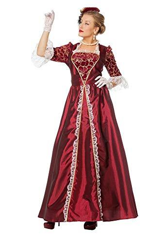 shoperama Marquise Damen Barock Rokoko Kostüm TAFT Kleid Gräfin Adlige französisch Renaissance Mätresse Madame de Pompadour Karneval, Farbe:Bordeaux, Größe:46 (Madame De Pompadour Kostüm)